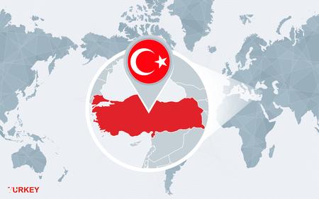 World map with magnified Turkey. Turkey flag and map.: Lizenzfreie ...