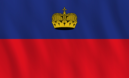 Liechtenstein flag with waving effect, official proportion.