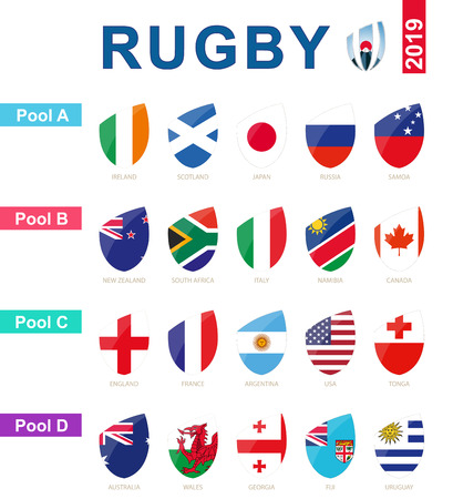 Illustration pour Rugby 2019, all pools and flag of rugby tournament. - image libre de droit