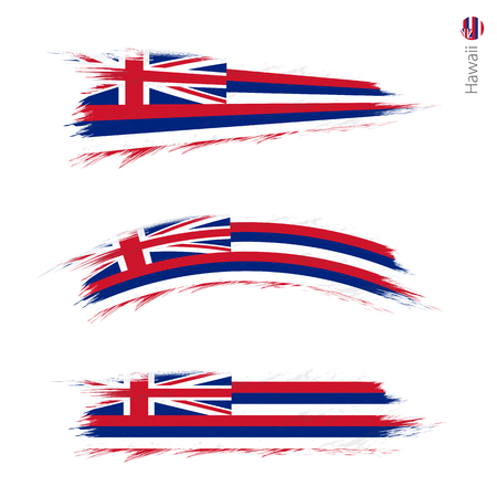Illustration for Set of 3 grunge textured flag of US State Hawaii, three versions of state flag in brush strokes painted style. Vector flags. - Royalty Free Image