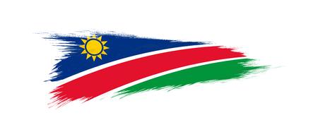 Illustration pour Flag of Namibia in grunge brush stroke, vector grunge illustration. - image libre de droit