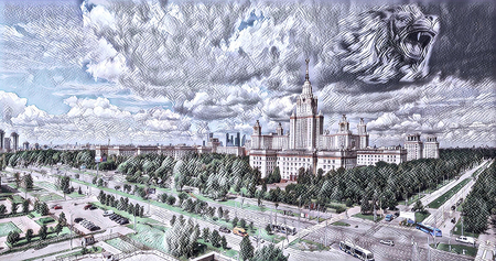 Digital wide angle painting of famous Russian university with clouds in summer in Moscow