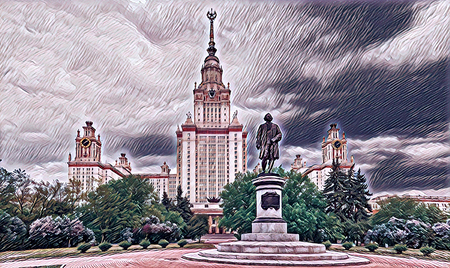 Digital wide angle painting of a famous Russian university in Moscow