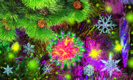 Colorful new year background invested with coronavirus