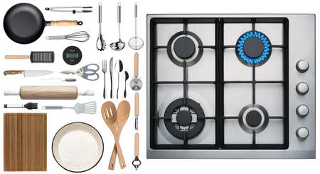 Photo pour Kitchen tools and stove overlook shot on white background - image libre de droit