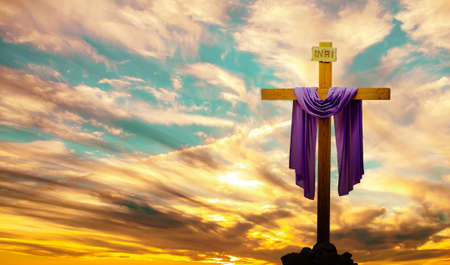 Photo for Silhouette of Christian cross at sunrise or sunset panoramic view - Royalty Free Image