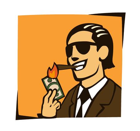 businessman who lights a cigar with dollar