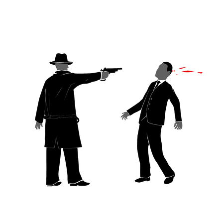 This is an illustration of killer shooting a man