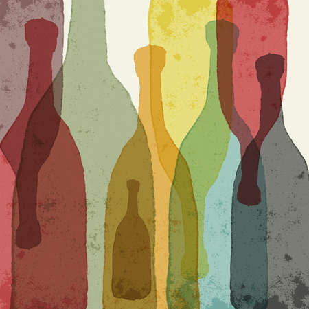 Bottles of wine whiskey tequila vodka. Watercolor silhouettes.