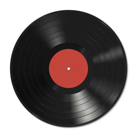 Illustration pour Vector illustration of a vinyl record with red label. - image libre de droit