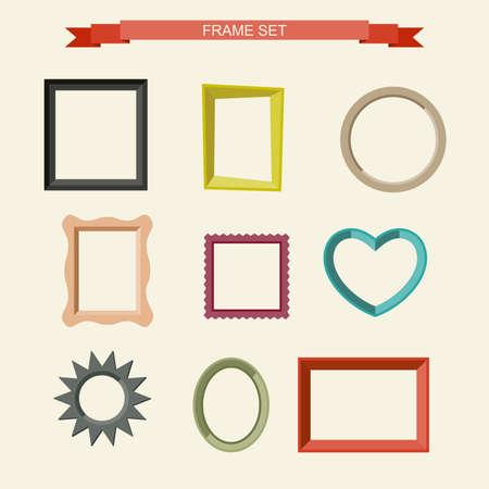 Illustration pour Set of different frames in flat style. Vector illustration - image libre de droit
