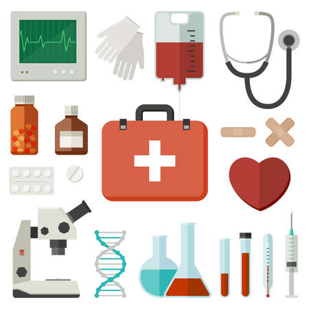Icons of medical instruments and medicaments in flat style. Vector flat illustration