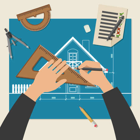 Process of designing the house. Simple vector illustration of blueprints with professional drawing equipment.