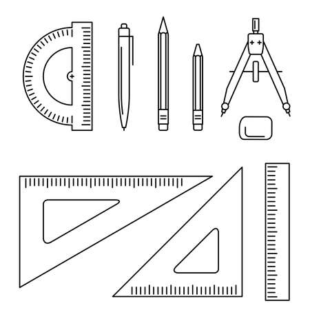 Illustration pour Vector line icons of drawing instrument. Thin drawing professional equipment. - image libre de droit