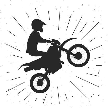 Enduro bike  illustration. Motocross retro illustration.