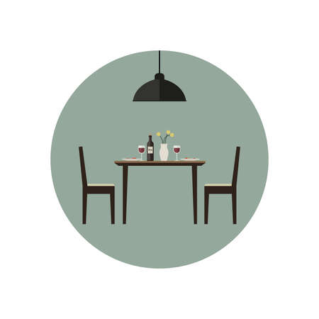 Illustration pour Dining room icon with table and two chairs in flat style. Vector illustration. - image libre de droit