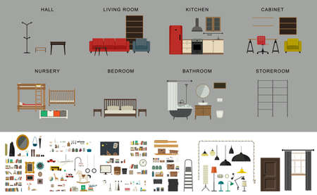 Illustration pour Furniture interior elements. icons set of furniture and accessories in flat style. - image libre de droit