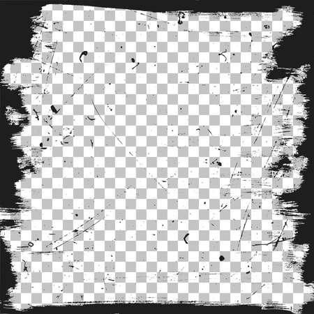 Illustration pour Grunge border template with scratches texture. Vector brush frame background. - image libre de droit
