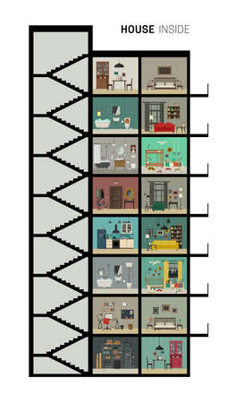 Illustration pour House inside interior. Vector flat house with set of basic rooms. High-rise house in cut with furniture. - image libre de droit