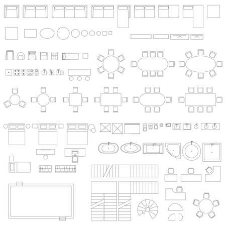Illustration for Furniture and elements line symbols - Royalty Free Image