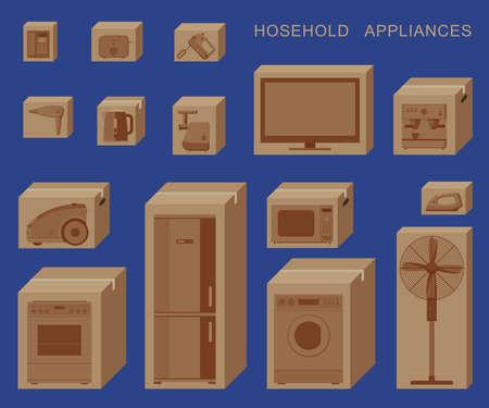 Illustration pour Household appliances in boxes - image libre de droit
