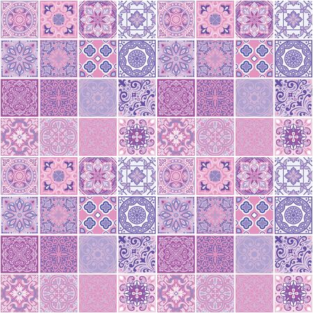Photo for Geometrical design of squares, seamless pattern print on fabric, wallpaper, tile - Royalty Free Image