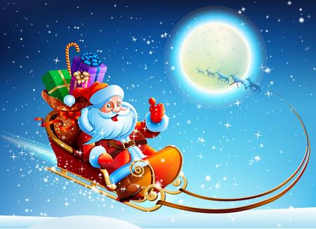 Illustration pour Santa Claus in a sleigh on vector moon background - image libre de droit