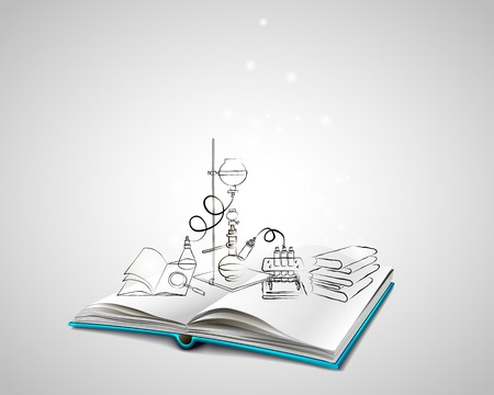Open book with a blue cover. Science icons doodles Chemical Laboratory. A stack of books. Education, research, experiments. The book is about chemistry.