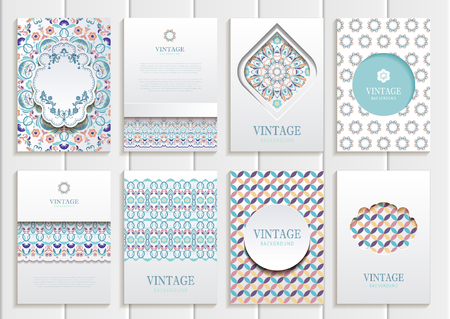 Stock vector set of brochures in vintage style. Vector design templates vintage frames and backgrounds. Use for printed materials, elements, web sites, signs.