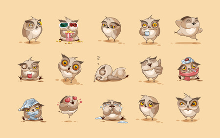 Illustration for Set Vector Stock Illustrations isolated Emoji character cartoon owl stickers emoticons with different emotions for site, infographics, video, animation, websites, e-mails, newsletters, reports, comics - Royalty Free Image