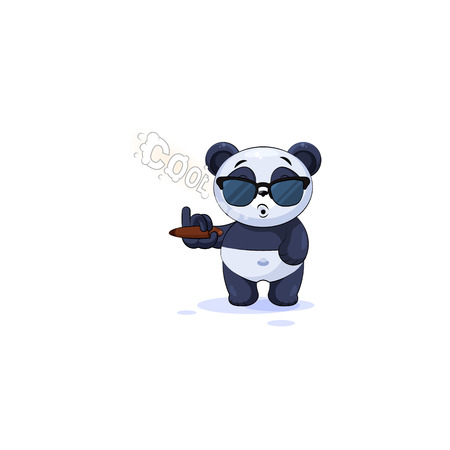 Vector Illustration isolated Emoji character cartoon cool happy life, successful wealth riches businessman panda bamboo bear Chinese symbol sticker emoticon and sunglasses smoking cigar smoke rings