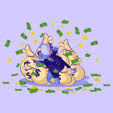 Vector isolated Emoji character cartoon wealth riches dragon