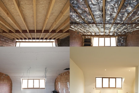 Photo pour construction of the wooden frame of a roofFibreglass insulation installed in the sloping ceiling of a house Construction of Drywall-Plasterboard Before and after - image libre de droit
