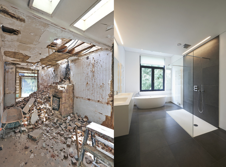 Photo for Renovation of a bathroom Before and after in horizontal format - Royalty Free Image