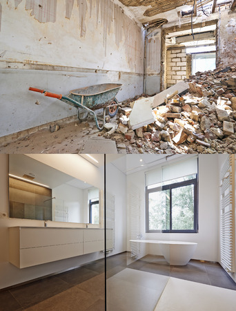 Photo pour Bathtub in corian, Faucet and shower in tiled bathroom , Renovation Before and after - image libre de droit