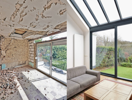 Photo pour Modern living room with large windows and view on seaside. before and after - image libre de droit