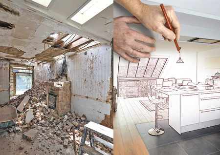 Photo pour Drawing and planned Modern open kitchen in renovated house, before and after - image libre de droit