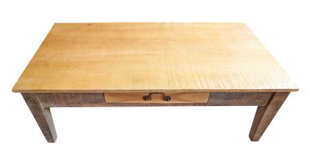 Photo pour Rustic low table with shelf in natural light isolated on white - image libre de droit