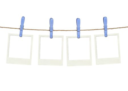 Photo pour Four plastic clothespins and instant frame with asian foof as pictures on rope - image libre de droit