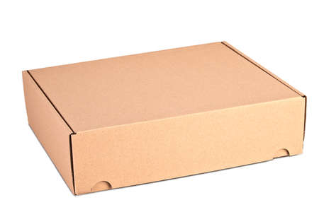 Photo for Closed card delivery Box ready for shipping isolated on white - Royalty Free Image