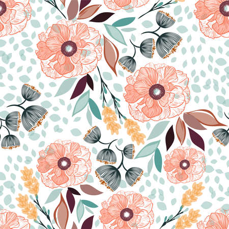 Photo for Seamless vector floral pattern spring-summer with beautiful orange flowers and colorful leaves, texture can be used for textiles, fabrics, covers, wallpaper, print, gift wrapping, postcard. - Royalty Free Image