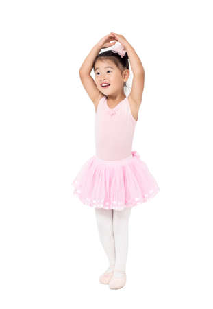 Photo for Little Girl Ballerina to raise hands up - Royalty Free Image