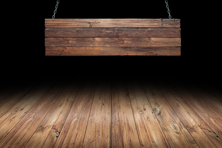 Photo for Wood table with hanging wooden sign - Royalty Free Image