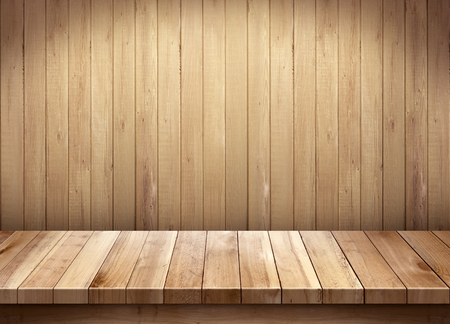 Empty wooden table on wooden backgroundの写真素材