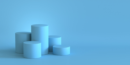 Photo pour Empty pastel blue podium on blank wall background. 3D rendering. - image libre de droit
