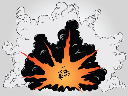 The vector image of the big explosion in ashes and smoke clouds