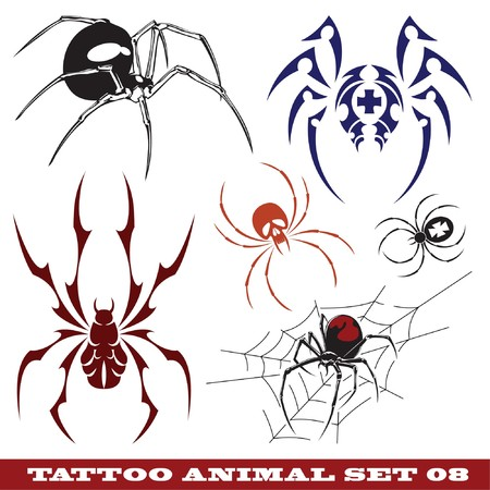 Illustration pour  templates spiders for tattoo and design on different topics  - image libre de droit
