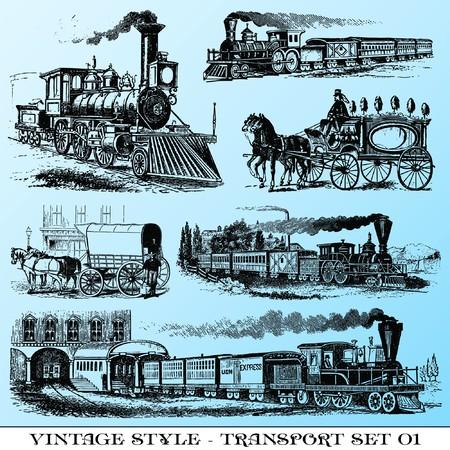 various Vintage-style illustrations  - ancient transport set