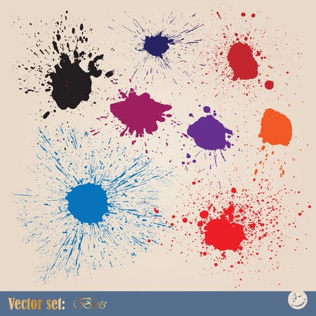 Vector set editable ink spills, stains and splashes