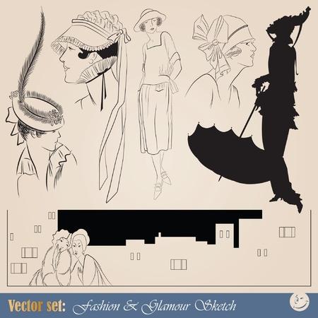 vector set: elegant vintage fashion illustrations, sketch and portraits